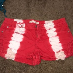 red and white jean shorts